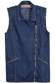 Blue Lapel Oblique Zipper Rivet Denim Vest