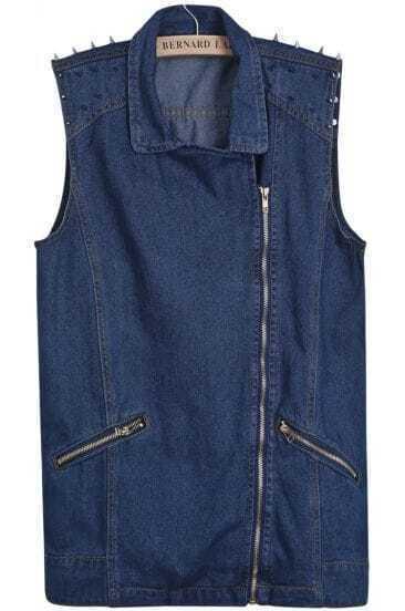Blue Lapel Oblique Zipper Rivet Denim Vest