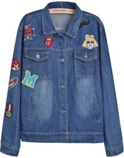 Blue Lapel Long Sleeve Bleached Applique Jacket