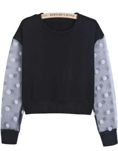 Black Contrast Polka Dot Long Sleeve Crop Sweatshirt