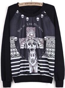 Black Long Sleeve Skull Cross Print Sweatshirt