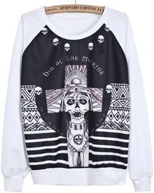 White Long Sleeve Skull Cross Print Sweatshirt