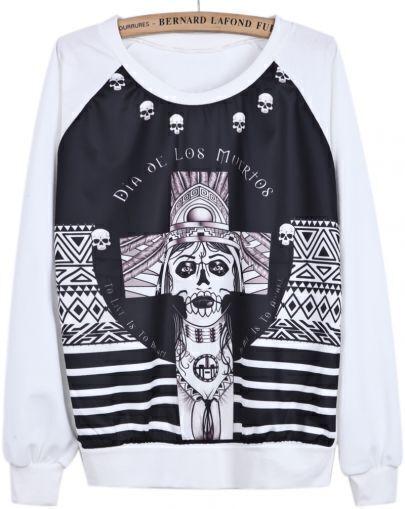 White Long Sleeve Skull Cross Print Sweatshirt