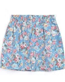 Light Blue Elastic Waist Floral Skirt