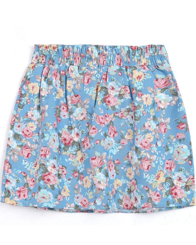 light blue elastic waist floral skirt shein sheinside