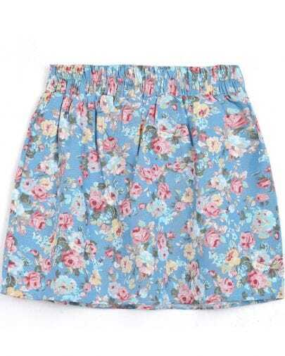 Light Blue Elastic Waist Floral Skirt