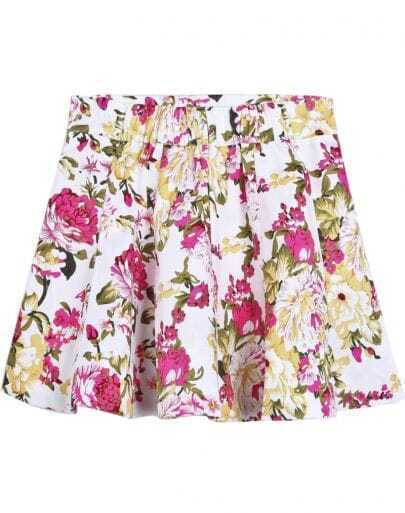 White Fashion Ruffle Floral Skirt