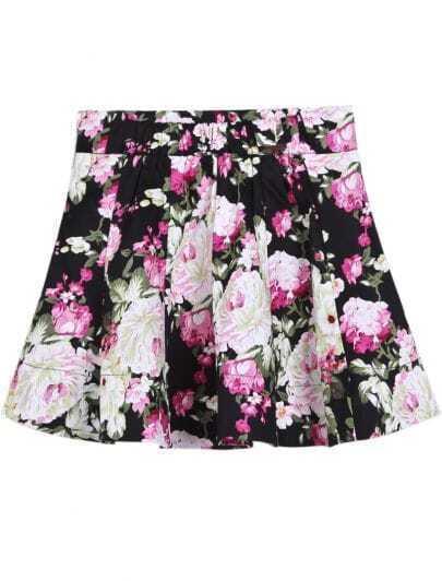 Black Fashion Ruffle Floral Skirt