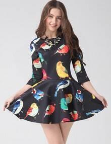 Black Round Neck Birds Print Ruffle Flare Dress