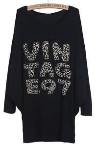 Black Batwing Long Sleeve VINTAGE97 Print T-Shirt