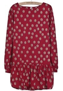 Red Long Sleeve Floral Chiffon Pleated Dress