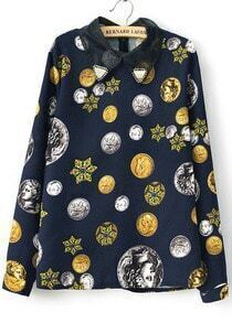 Navy Contrast Organza Lapel Coins Print Blouse