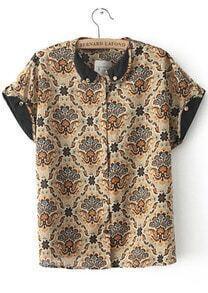 Khaki Short Sleeve Vintage Floral Blouse