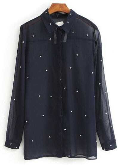 Navy Long Sleeve Rhinestone Sheer Chiffon Blouse