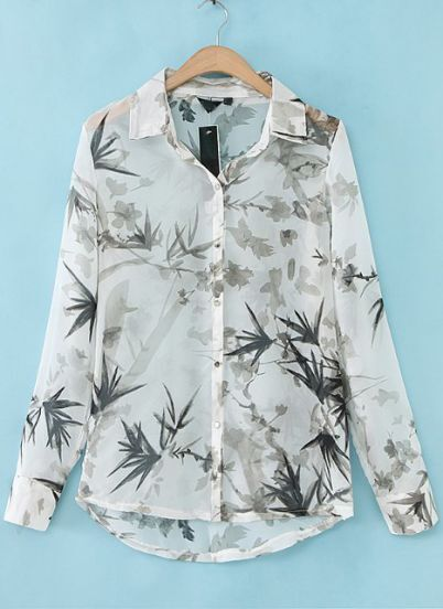 White Long Sleeve Leaves Print Chiffon Blouse