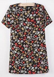 Black Short Sleeve Vintage Floral Loose Dress