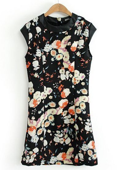 Black Contrast PU Leather Floral Slim Dress