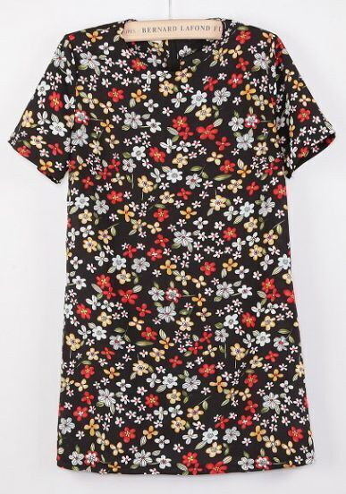 Black Short Sleeve Vintage Floral Loose Dress