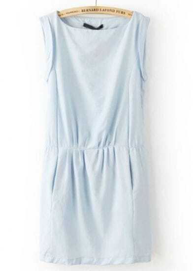 Blue Round Neck Sleeveless Casual Dress