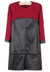 Wine Red Round Neck Contrast PU Leather Mini Dress
