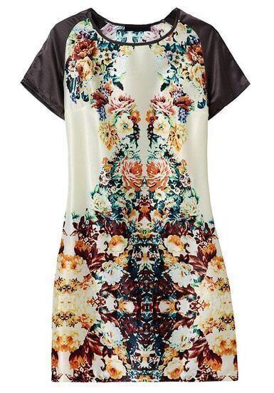 Beige Contrast Short Sleeve Floral Dress