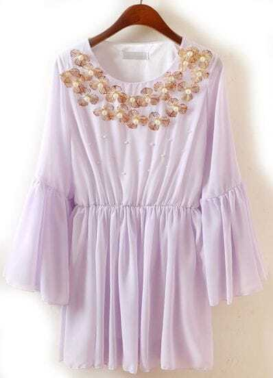 Purple Puff Sleeve Bead Belt Pleated Chiffon Dress