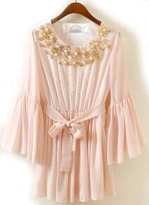 Pink Puff Sleeve Bead Belt Pleated Chiffon Dress