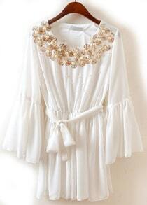 White Puff Sleeve Bead Belt Pleated Chiffon Dress