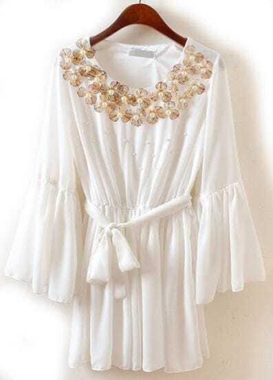 White Puff Sleeve Bead Belt Pleated Chiffon Dress