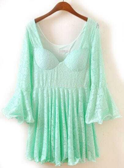 Green Ruffle Long Sleeve Pleated Lace Dress