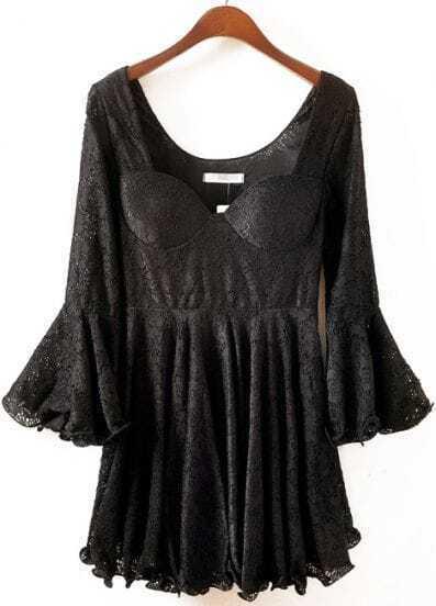 Black Ruffle Long Sleeve Pleated Lace Dress