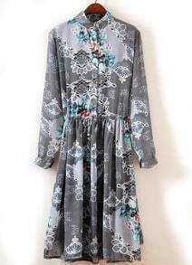 Grey Long Sleeve Snakeskin Pleated Chiffon Dress