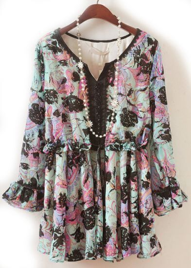 Green V Neck Long Sleeve Flocked Floral Dress