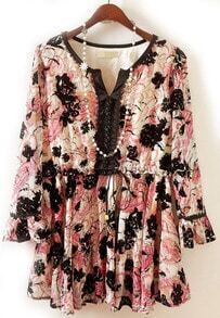 Pink V Neck Long Sleeve Flocked Floral Dress
