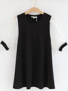 Black Contrast Puff Sleeve Loose Ruffle Dress