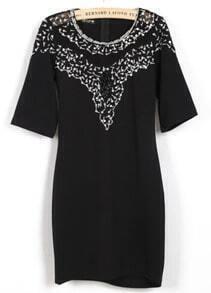 White Half Sleeve Bead Sequined Bodycon Dress
