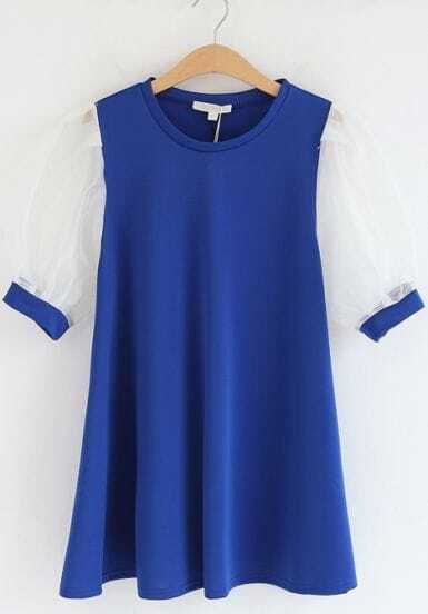 Blue Contrast Puff Sleeve Loose Ruffle Dress