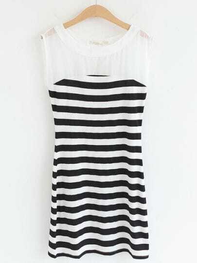 White Sleeveless Striped Bodycon Sundress
