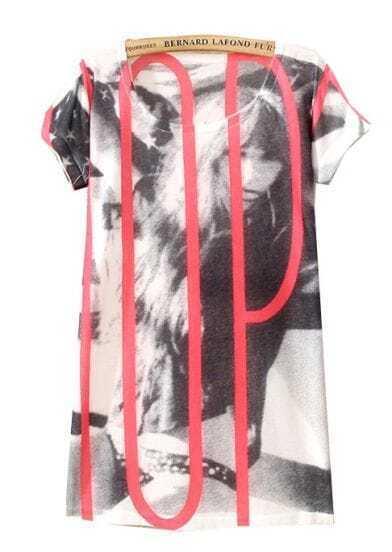 White Short Sleeve Girl Print Loose T-Shirt