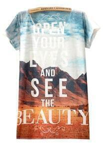 Blue Yellow Short Sleeve Grand Canyon Print T-Shirt