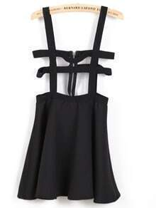 Black Fashion Ruffle Pinafore Skirt
