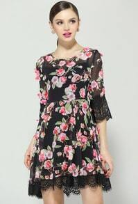Black Half Sleeve Floral Contrast Lace Chiffon Dress