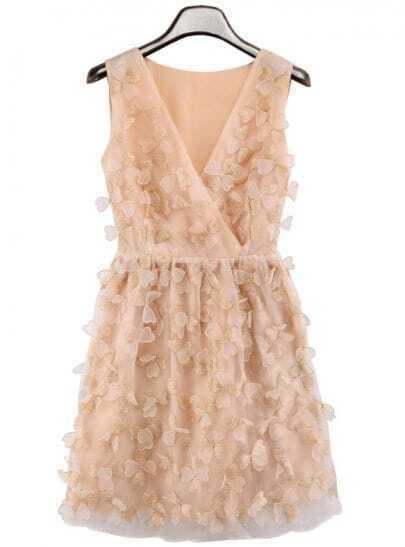Apricot V Neck Butterfly Embellished Chiffon Dress