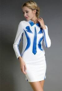 White Lapel Long Sleeve Blue Floral Bodycon Dress