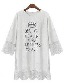 White Round Neck Imperial Crown Letters Print Lace T-Shirt