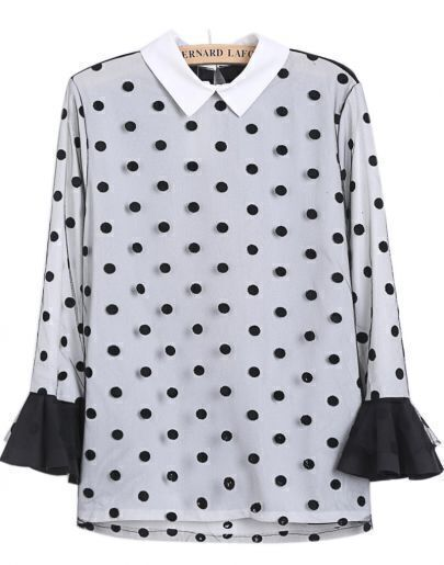 Black White Polka Dot Sheer Mesh Yoke Blouse