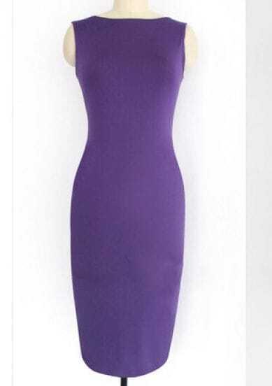 Purple Sleeve Back Zipper Dress