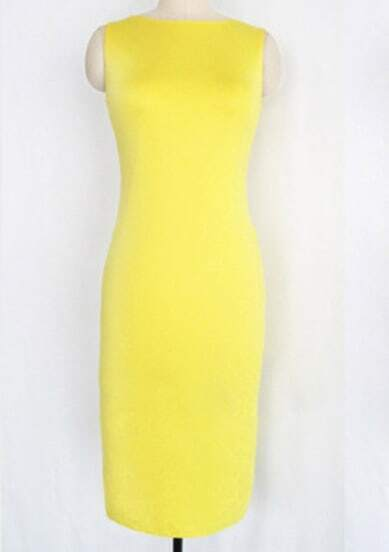 Yellow Sleeve Back Zipper Dress