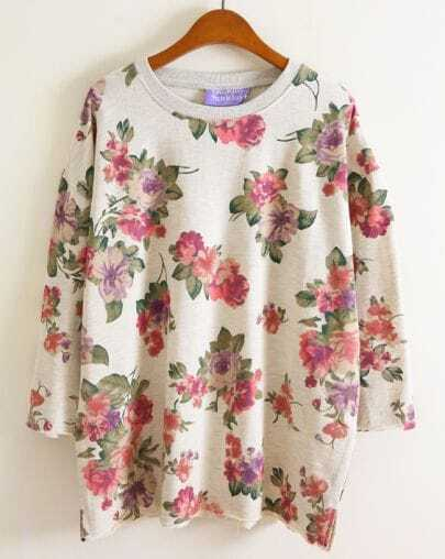 Beige Long Sleeve Floral Pattern Loose Sweatshirt