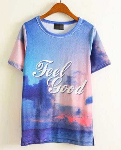 Blue Short Sleeve FEEL GOOD T-shirt